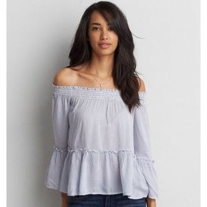 American Eagle •  Bell sleeve off the shoulder top